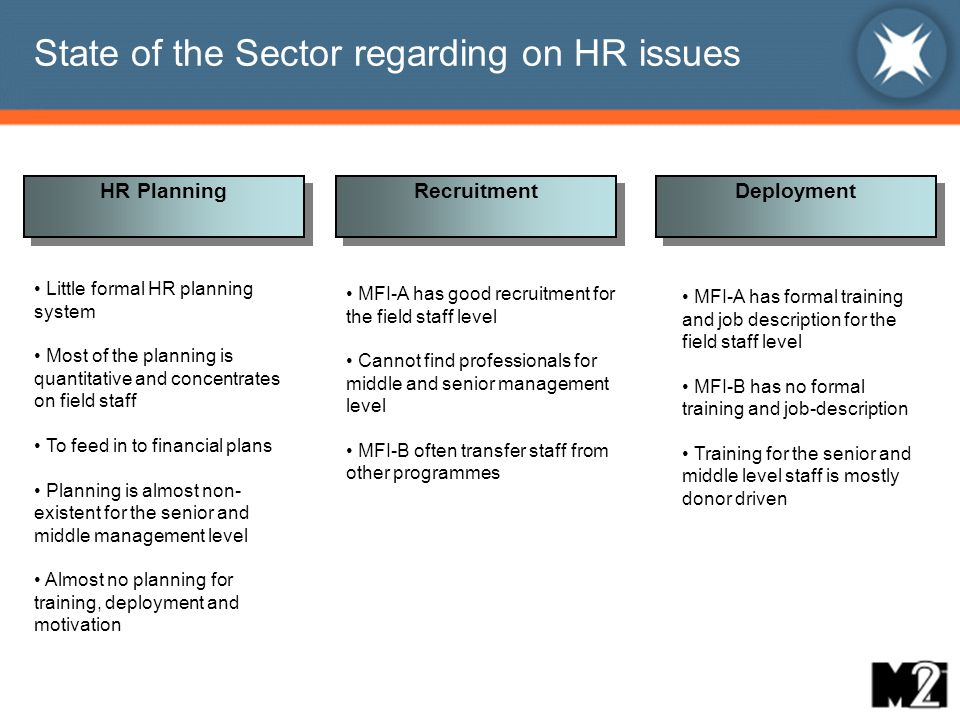 Agenda Introduction Case Studies: two typical MFIs State of the sector regarding HR issues Ideal Best Practices Issues in attracting professionals to Microfinance Conclusions