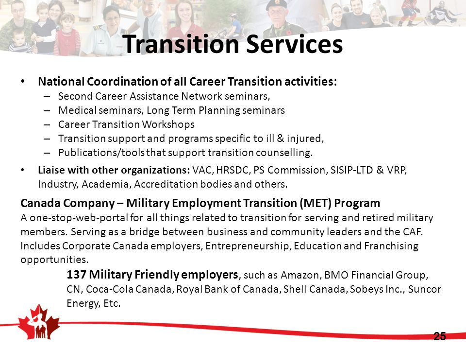 25 Transition Services National Coordination of all Career Transition activities: – Second Career Assistance Network seminars, – Medical seminars, Long Term Planning seminars – Career Transition Workshops – Transition support and programs specific to ill & injured, – Publications/tools that support transition counselling.