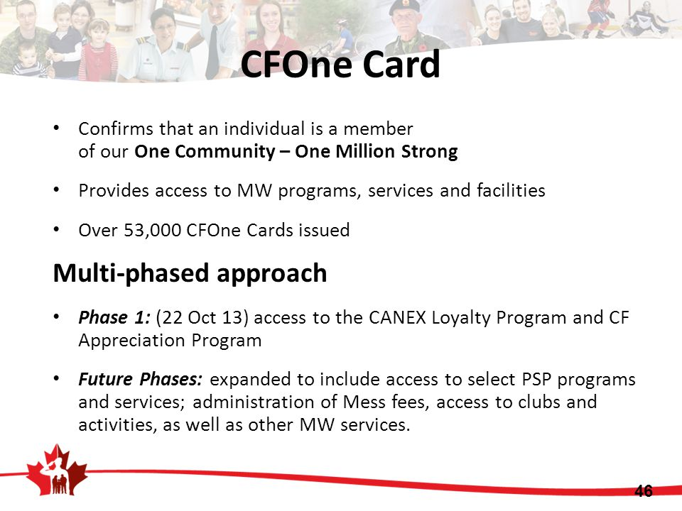 Confirms that an individual is a member of our One Community – One Million Strong Provides access to MW programs, services and facilities Over 53,000 CFOne Cards issued Multi-phased approach Phase 1: (22 Oct 13) access to the CANEX Loyalty Program and CF Appreciation Program Future Phases: expanded to include access to select PSP programs and services; administration of Mess fees, access to clubs and activities, as well as other MW services.