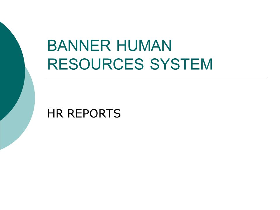 BANNER HUMAN RESOURCES SYSTEM HR REPORTS