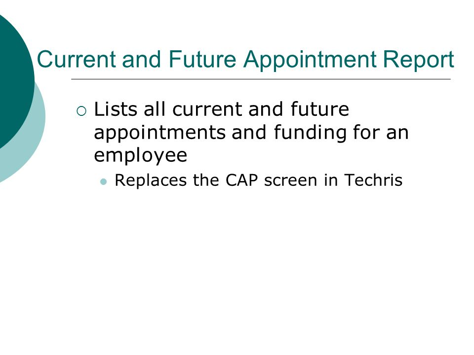 Current and Future Appointment Report  Lists all current and future appointments and funding for an employee Replaces the CAP screen in Techris