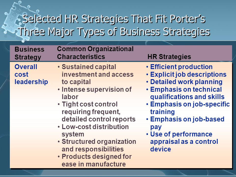 Selected HR Strategies That Fit Porter's Three Major Types of Business Strategies Business Strategy Common Organizational Characteristics HR Strategies Differ- entiation Strong marketing abilities Product engineering Strong capability in basic research Corporate reputation for quality or technological leadership Amenities to attract highly skilled labor, scientists, or creative people.