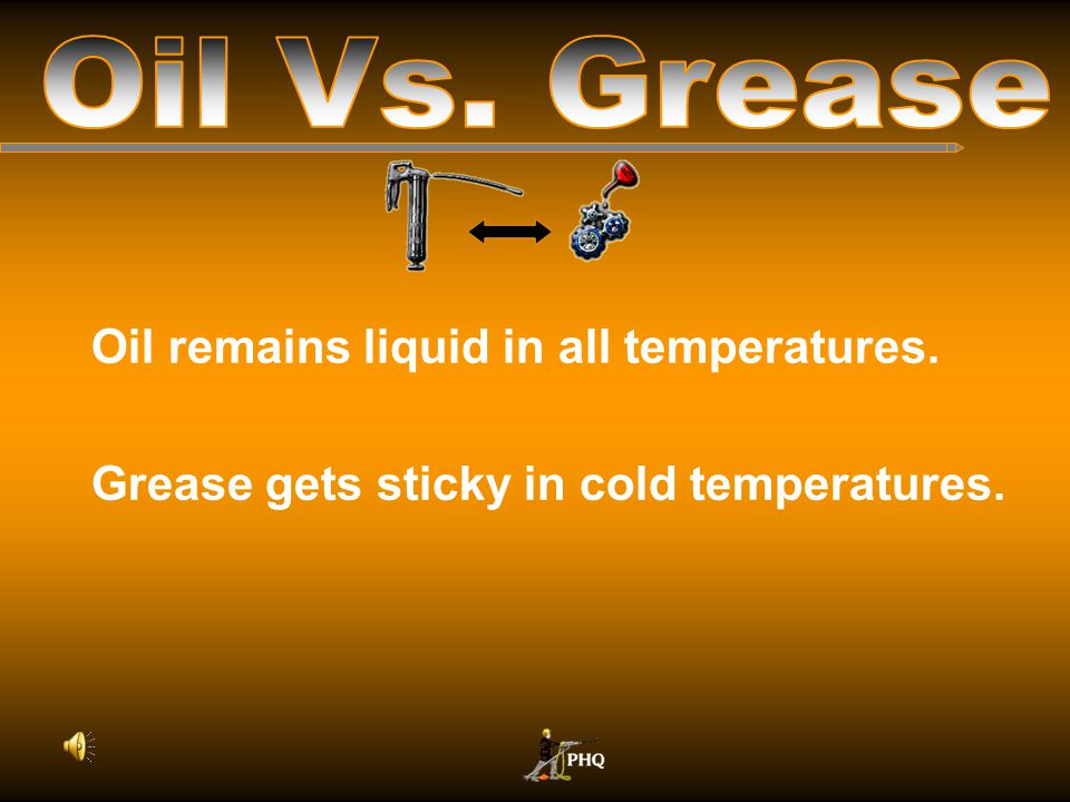 Oil is washed out of the drill by excess water in the air. Grease is not washed out of the drill by water in the air.