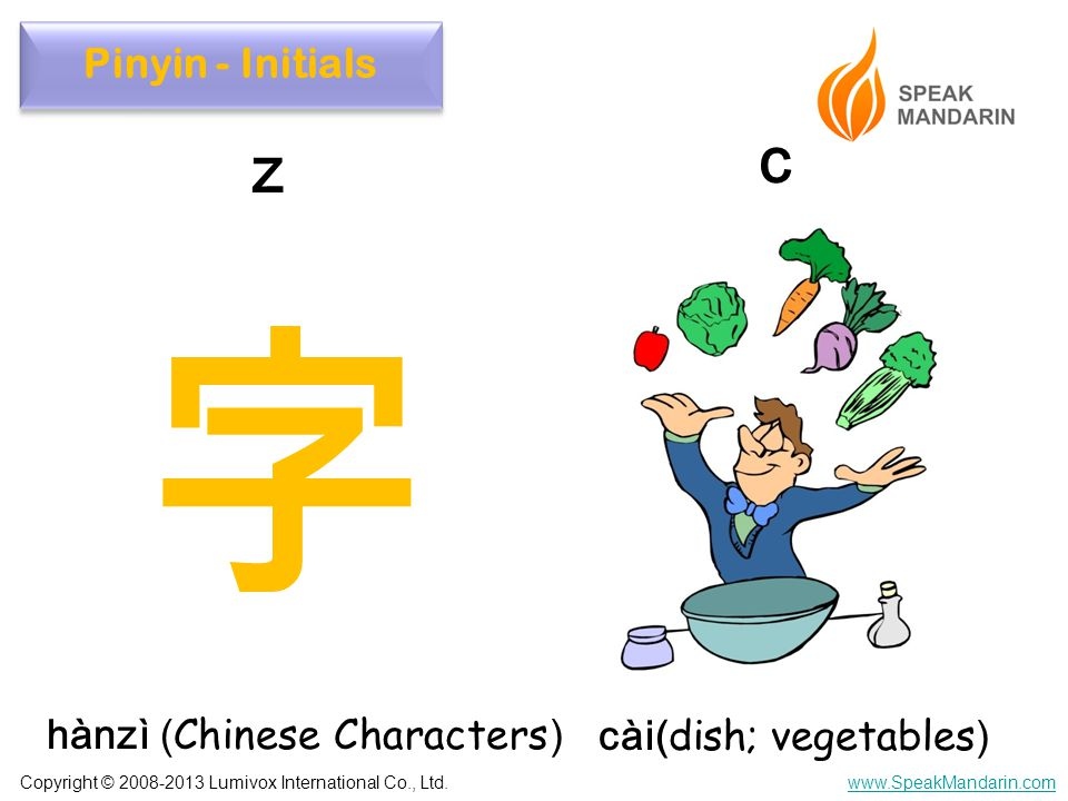 Copyright © 2008-2013 Lumivox International Co., Ltd.www.SpeakMandarin.com hànzì ( Chinese Characters ) cài( dish; vegetables ) z c Pinyin - Initials