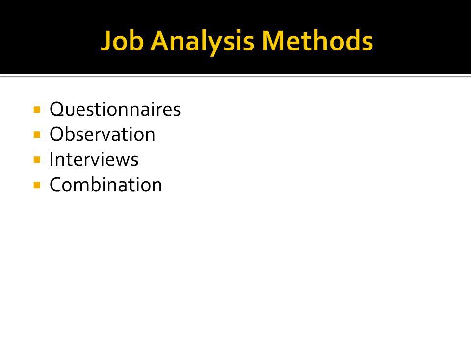  Questionnaires  Observation  Interviews  Combination
