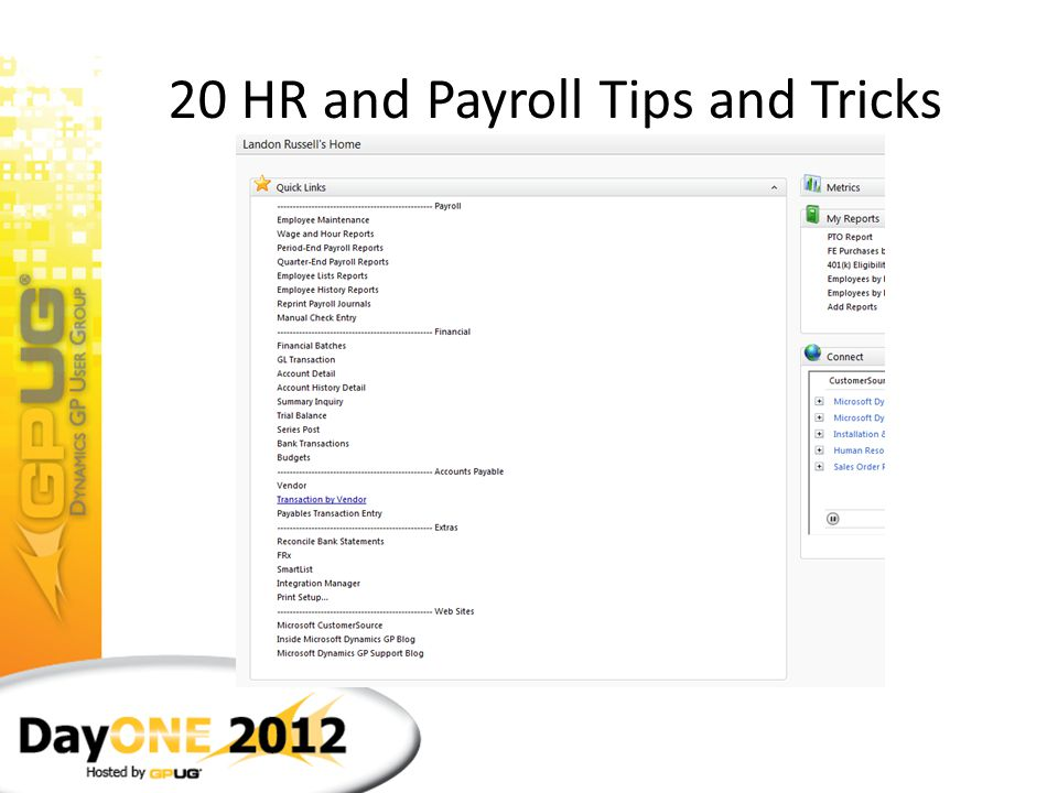 20 HR and Payroll Tips and Tricks 3.Show Details icon – more details on payroll entry screen Clicking on the Show Details icon (double arrow) on the P