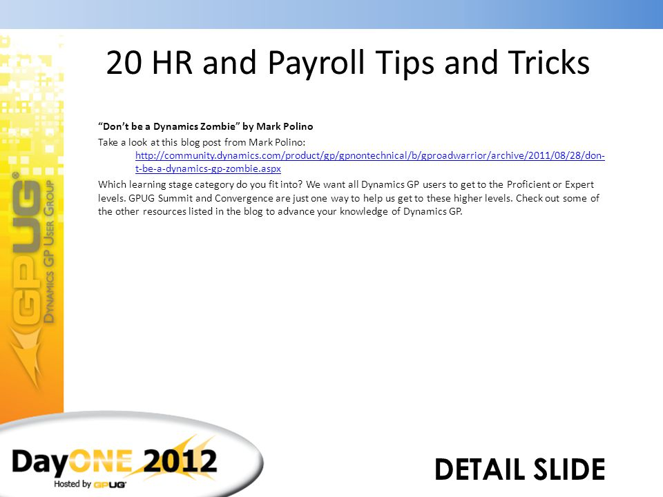 """20 HR and Payroll Tips and Tricks """"Don't be a Dynamics Zombie"""" by Mark Polino Novice Advanced Beginner Competent Proficient Expert"""