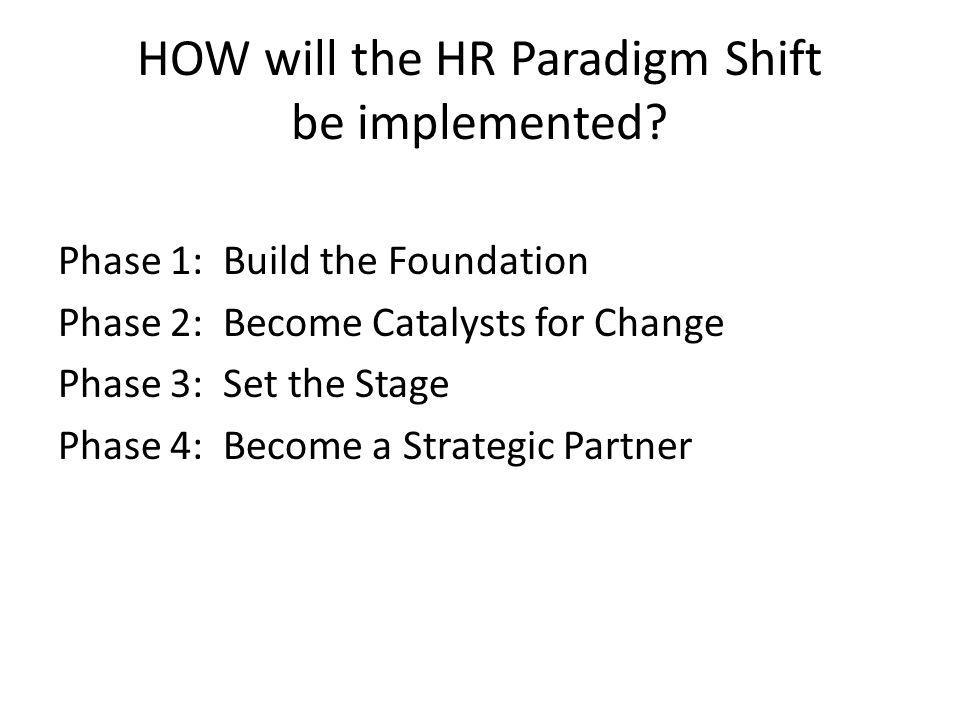 HOW will the HR Paradigm Shift be implemented.