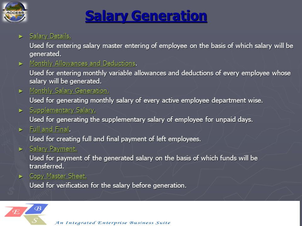 Salary Generation ► Salary Details. Salary Details. Salary Details. Used for entering salary master entering of employee on the basis of which salary