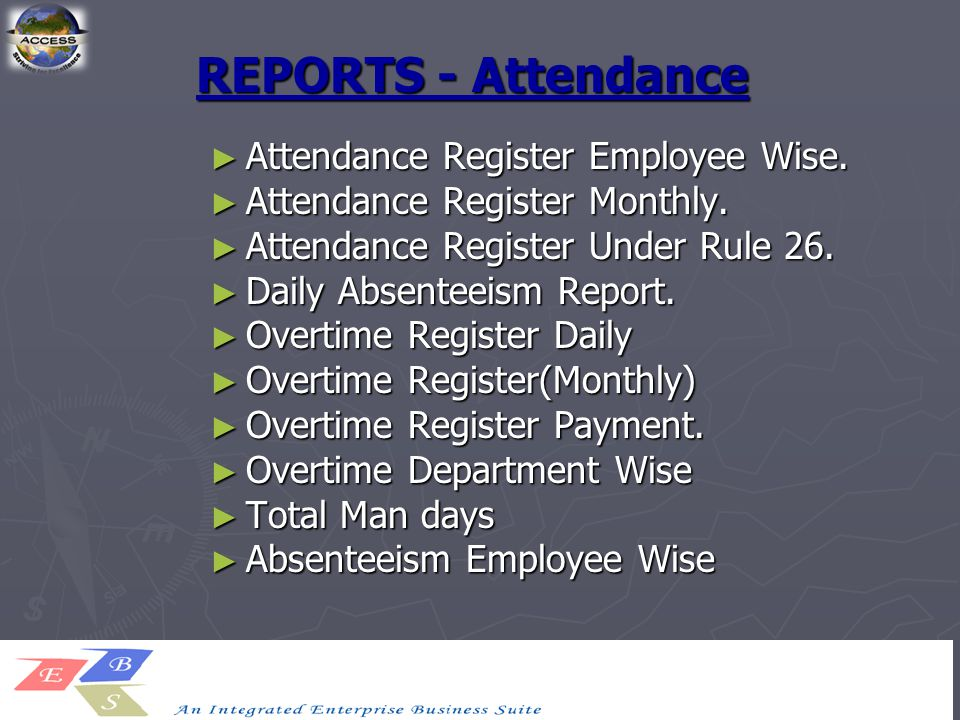 REPORTS - Attendance ► Attendance Register Employee Wise.