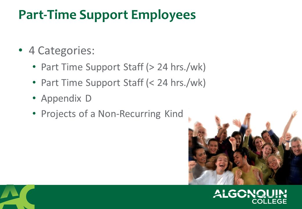 Part-Time Support Employees 4 Categories: Part Time Support Staff (> 24 hrs./wk) Part Time Support Staff (< 24 hrs./wk) Appendix D Projects of a Non-Recurring Kind