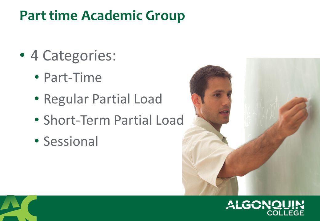 Part time Academic Group 4 Categories: Part-Time Regular Partial Load Short-Term Partial Load Sessional