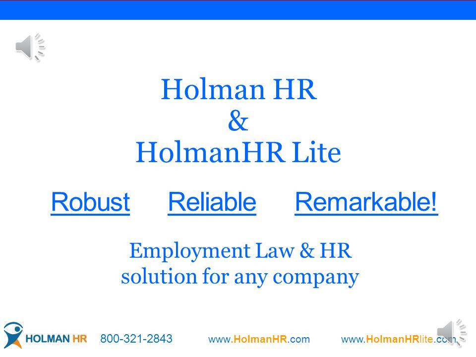 Robust Holman HR & HolmanHR Lite ReliableRemarkable.