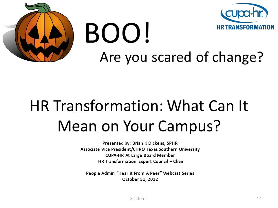 HR Transformation: What Can It Mean on Your Campus? Presented by: Brian K Dickens, SPHR Associate Vice President/CHRO Texas Southern University CUPA-H