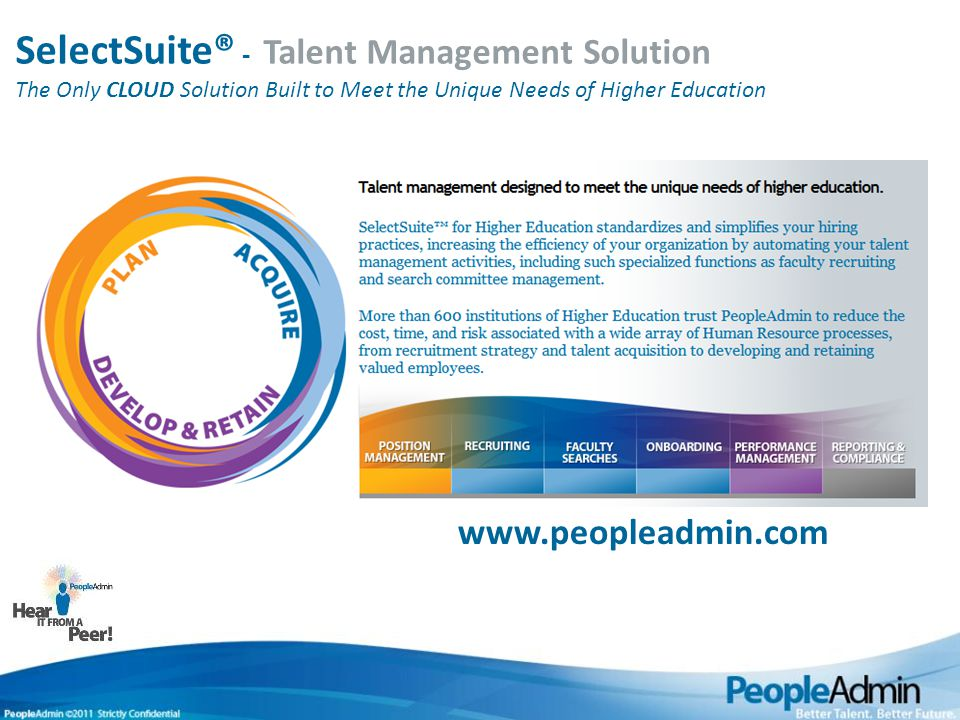 2012 Talent Management Trends 4 Higher Education HR Challenges 1.Planning for financial sustainability 2.Employee motivation & engagement 3.Better use of technology 4.Faculty & staff recruitment & retention 5.Diversity, equity & inclusion