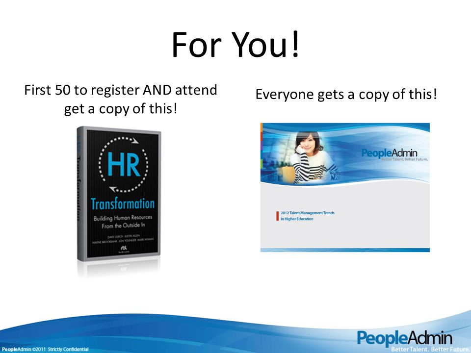 For You! First 50 to register AND attend get a copy of this! Everyone gets a copy of this!