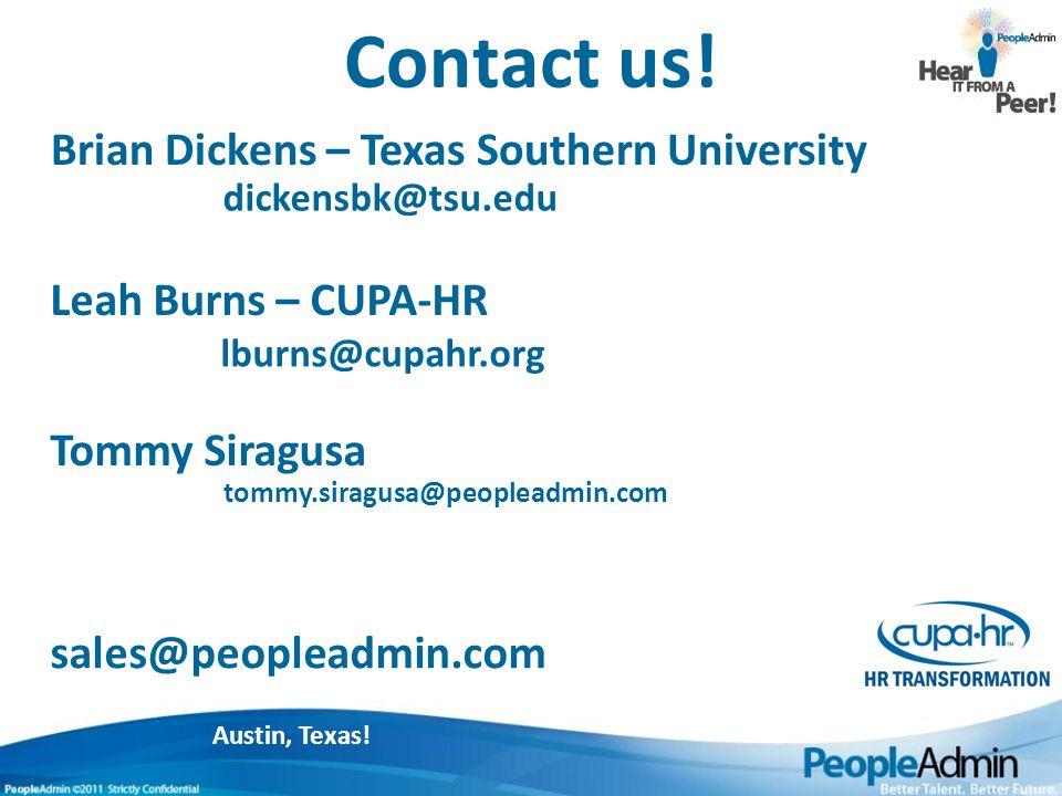 Austin, Texas. Contact us.