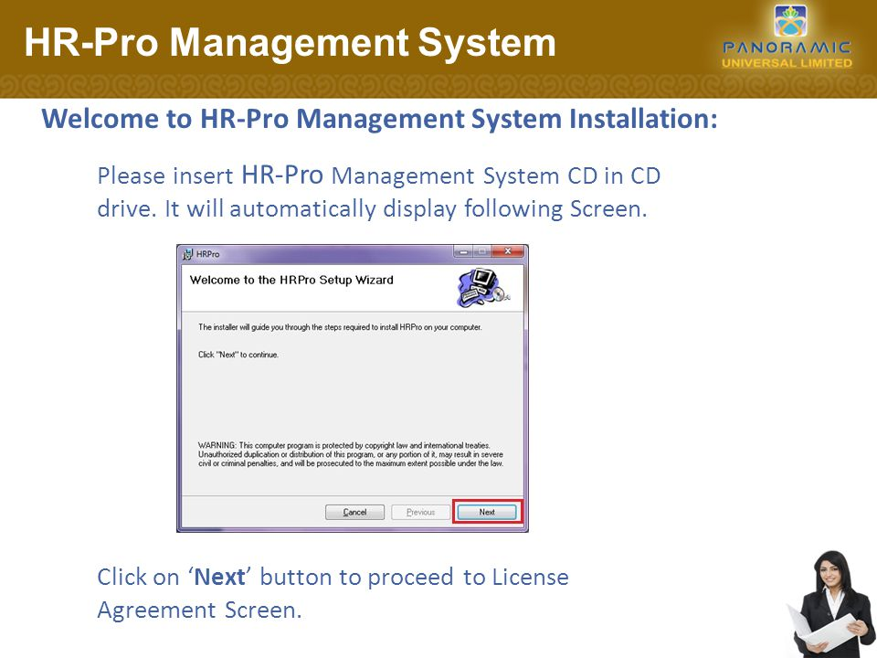 License Agreement Screen: HR-Pro Management System Clicking 'Cancel' button will discontinue installation.