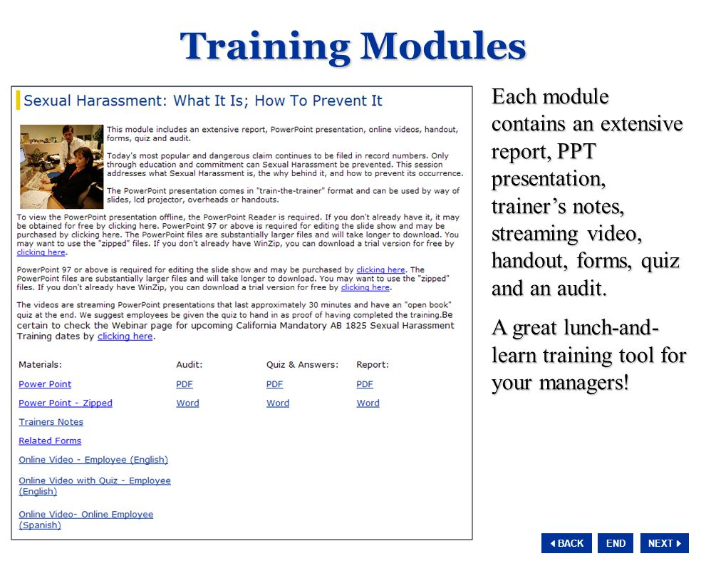 NEXT  BACK END Each module contains an extensive report, PPT presentation, trainer's notes, streaming video, handout, forms, quiz and an audit.