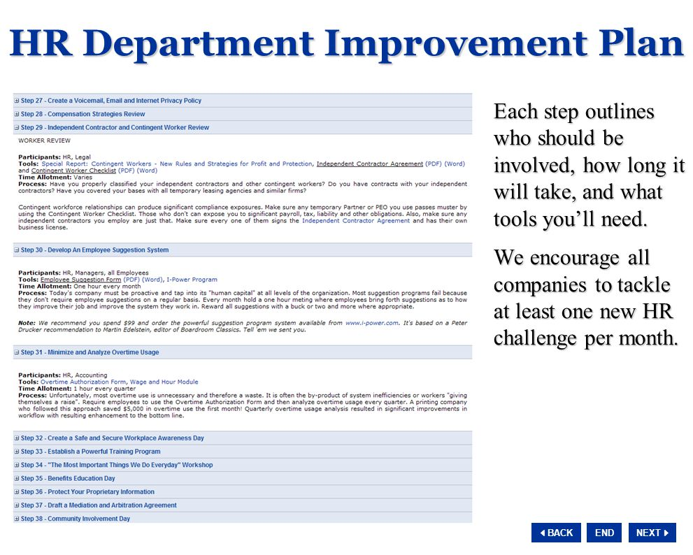 NEXT  BACK END HR Department Improvement Plan Each step outlines who should be involved, how long it will take, and what tools you'll need.