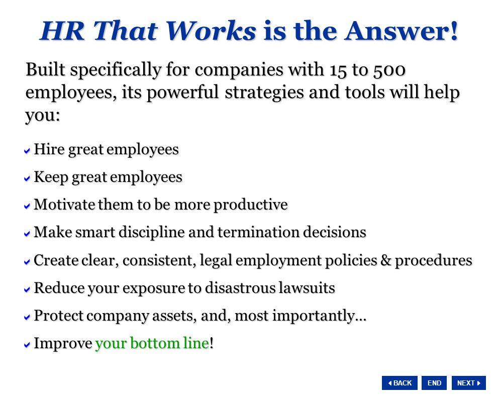 NEXT  BACK END HR Department Improvement Plan Great companies don't happen by accident.