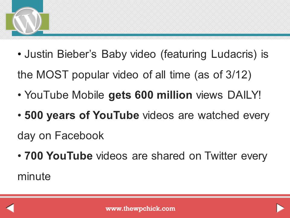 Justin Bieber's Baby video (featuring Ludacris) is the MOST popular video of all time (as of 3/12) YouTube Mobile gets 600 million views DAILY! 500 ye