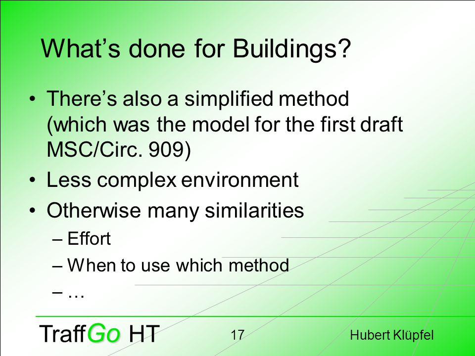 Hubert Klüpfel17 Go Traff Go HT What's done for Buildings.