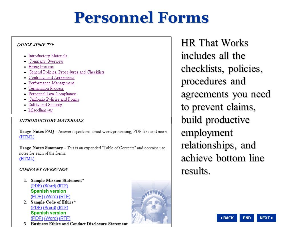 NEXT  BACK END Personnel Forms HR That Works includes all the checklists, policies, procedures and agreements you need to prevent claims, build prod
