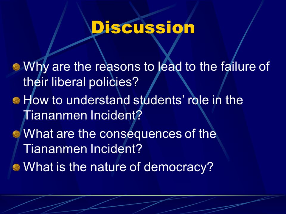 Discussion Why are the reasons to lead to the failure of their liberal policies.