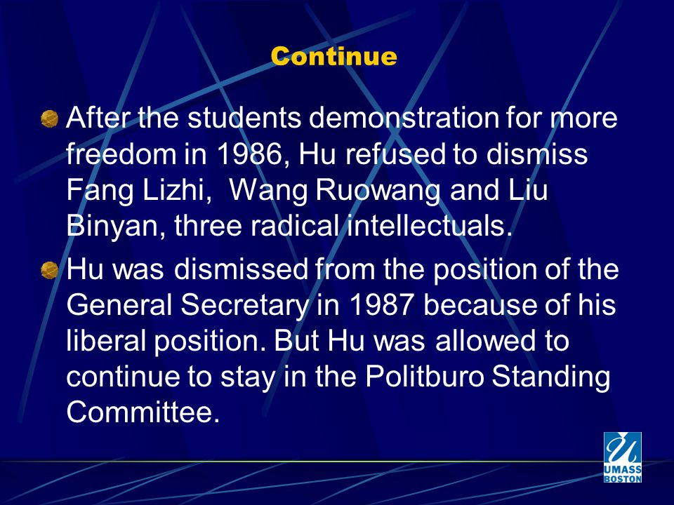 Continue After the students demonstration for more freedom in 1986, Hu refused to dismiss Fang Lizhi, Wang Ruowang and Liu Binyan, three radical intellectuals.
