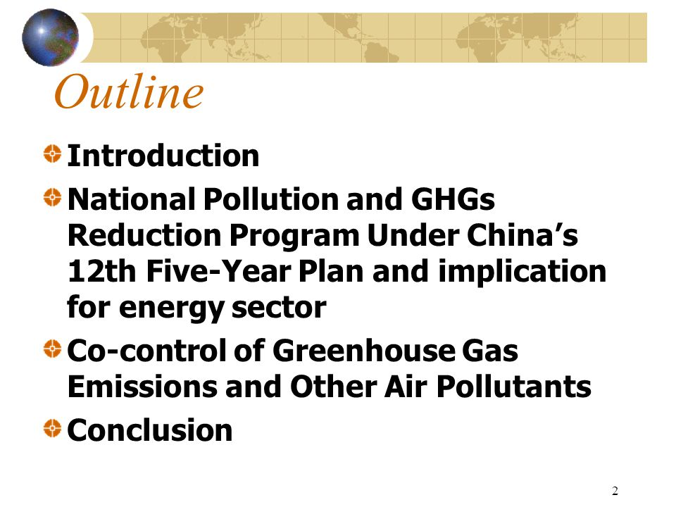 23 Review of co-benefit development in China Stage 0 pre-co-benefit period: local pollution control policy and climate change policy were considered independently without links Stage 1 Ancillary benefit or Secondary benefit period: Ancillary benefits or secondary benefits of GHGs reduction were aware
