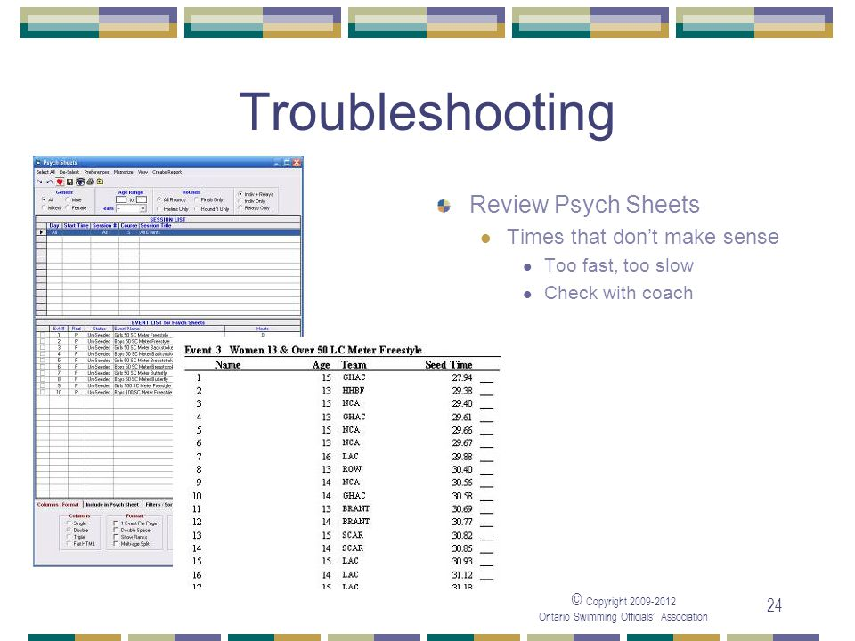 © Copyright 2009-2012 Ontario Swimming Officials' Association 24 Troubleshooting Review Psych Sheets Times that don't make sense Too fast, too slow Check with coach