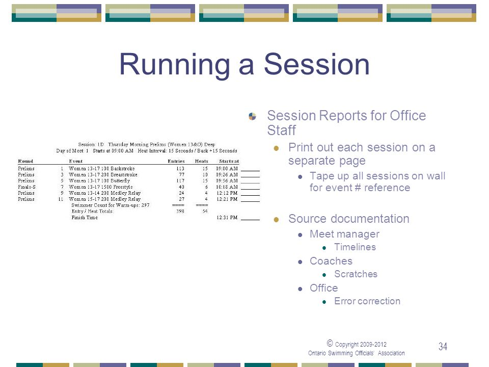 © Copyright 2009-2012 Ontario Swimming Officials' Association 34 Running a Session Session Reports for Office Staff Print out each session on a separate page Tape up all sessions on wall for event # reference Source documentation Meet manager Timelines Coaches Scratches Office Error correction
