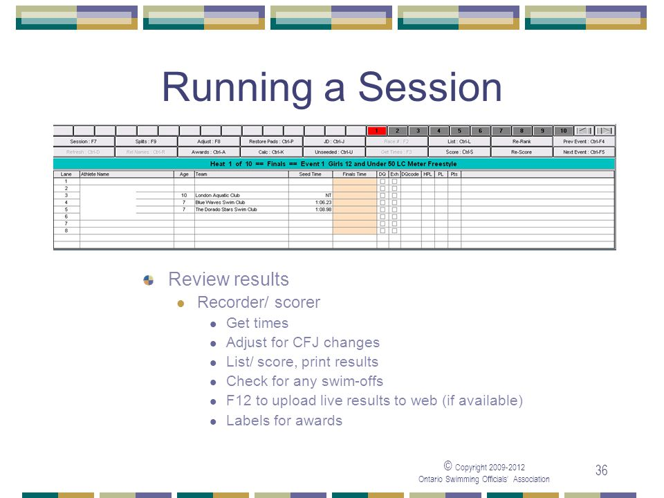 © Copyright 2009-2012 Ontario Swimming Officials' Association 36 Running a Session Review results Recorder/ scorer Get times Adjust for CFJ changes List/ score, print results Check for any swim-offs F12 to upload live results to web (if available) Labels for awards