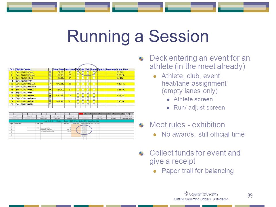 © Copyright 2009-2012 Ontario Swimming Officials' Association 39 Running a Session Deck entering an event for an athlete (in the meet already) Athlete, club, event, heat/lane assignment (empty lanes only) Athlete screen Run/ adjust screen Meet rules - exhibition No awards, still official time Collect funds for event and give a receipt Paper trail for balancing