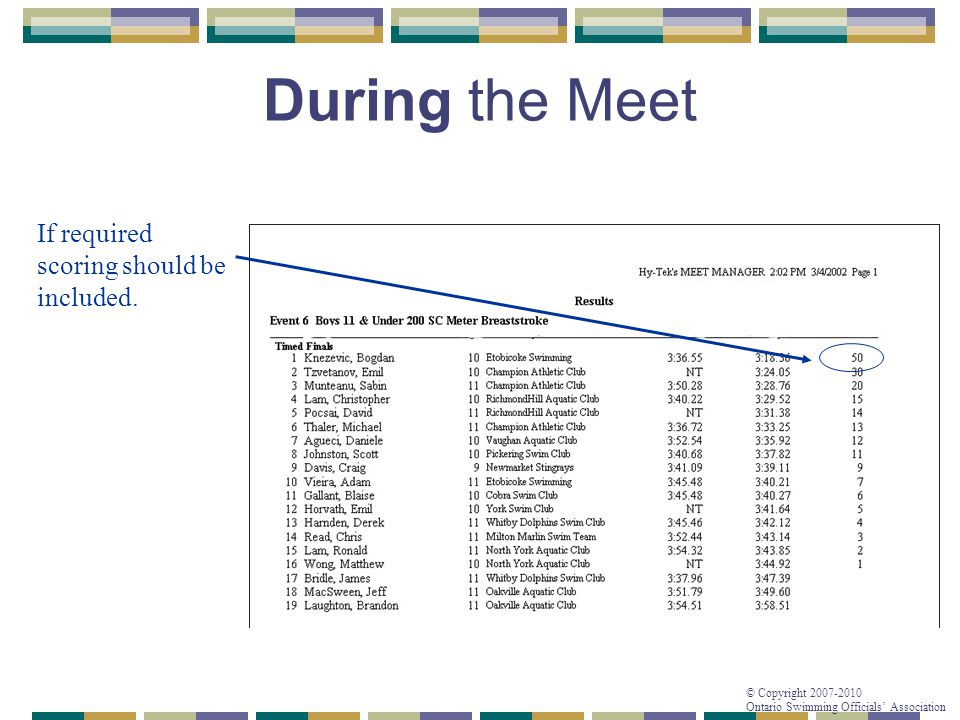 © Copyright 2007-2010 Ontario Swimming Officials' Association During the Meet If required scoring should be included.