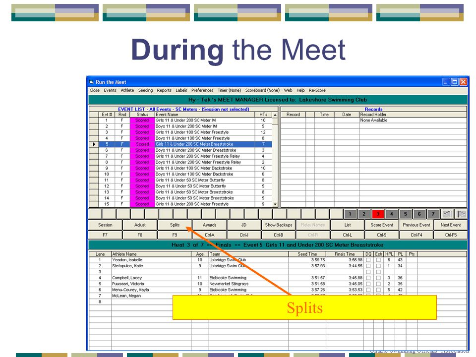 © Copyright 2007-2010 Ontario Swimming Officials' Association During the Meet Splits