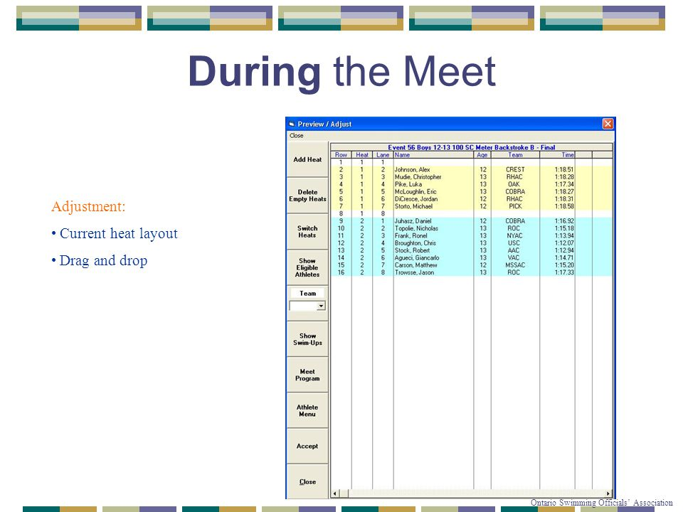 © Copyright 2007-2010 Ontario Swimming Officials' Association During the Meet Adjustment: Current heat layout Drag and drop