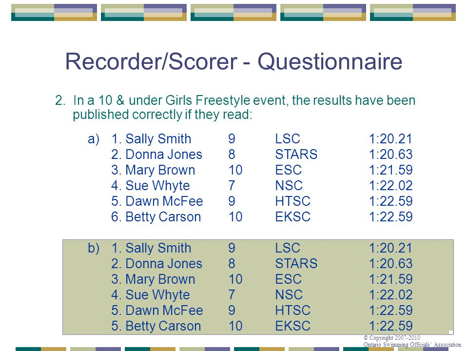 © Copyright 2007-2010 Ontario Swimming Officials' Association Recorder/Scorer - Questionnaire 2. In a 10 & under Girls Freestyle event, the results ha