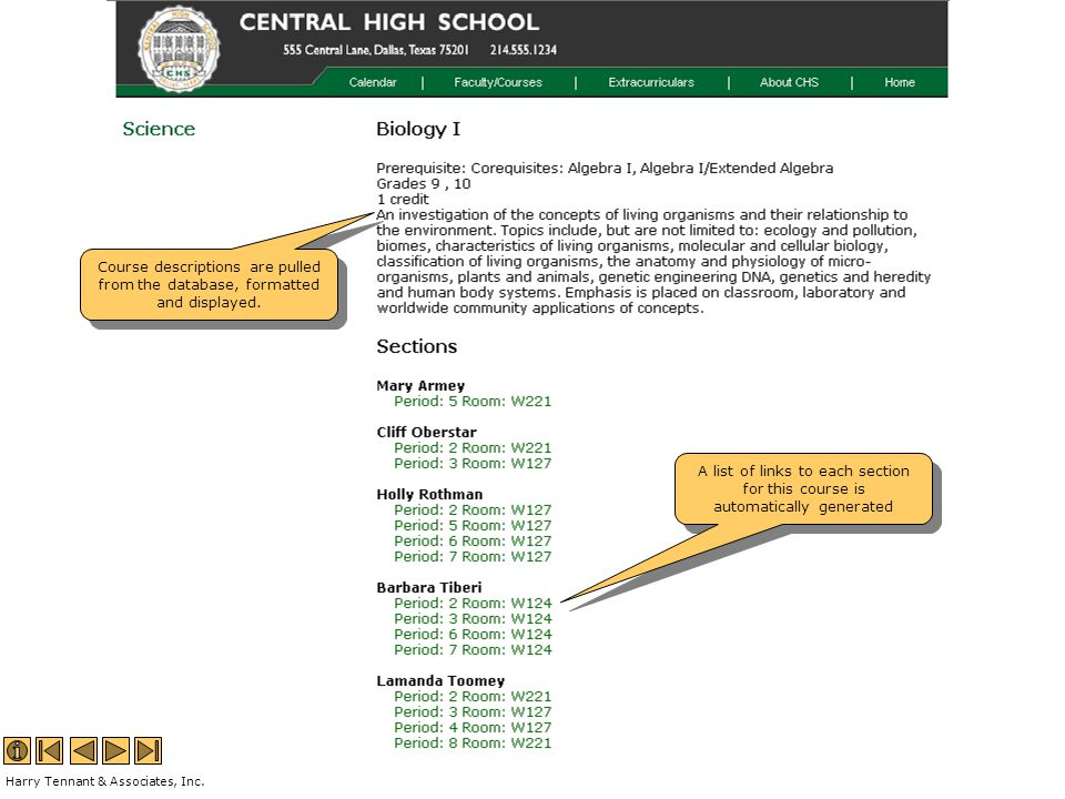 Course descriptions are pulled from the database, formatted and displayed.