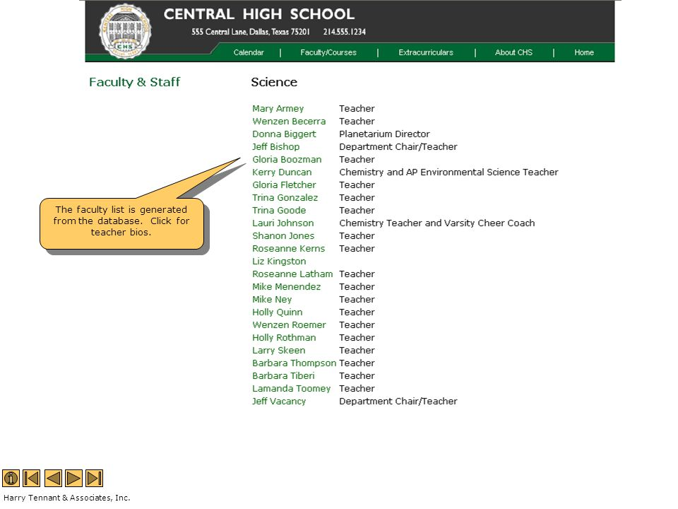 The faculty list is generated from the database. Click for teacher bios.