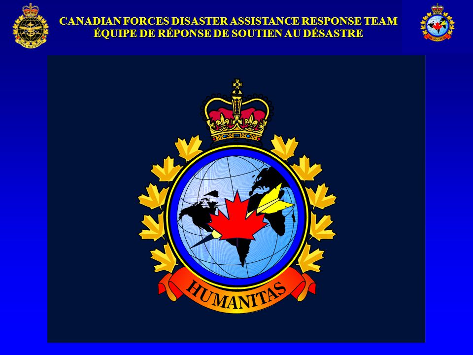 CANADIAN FORCES DISASTER ASSISTANCE RESPONSE TEAM ÉQUIPE DE RÉPONSE DE SOUTIEN AU DÉSASTRE The Canadian Forces Disaster Assistance Response Team (DART) Briefing to MPAT 17 November 2000 By Major Wayne Gauthier DCO DART