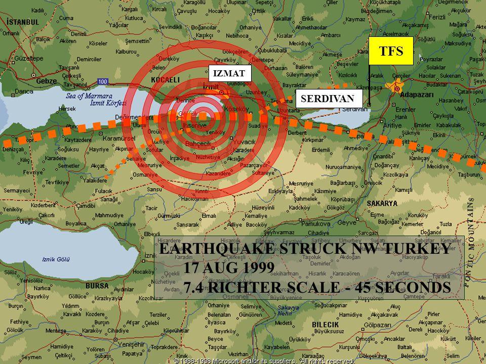 CANADIAN FORCES DISASTER ASSISTANCE RESPONSE TEAM ÉQUIPE DE RÉPONSE DE SOUTIEN AU DÉSASTRE TFS EARTHQUAKE STRUCK NW TURKEY 17 AUG 1999 7.4 RICHTER SCALE - 45 SECONDS SERDIVAN IZMAT