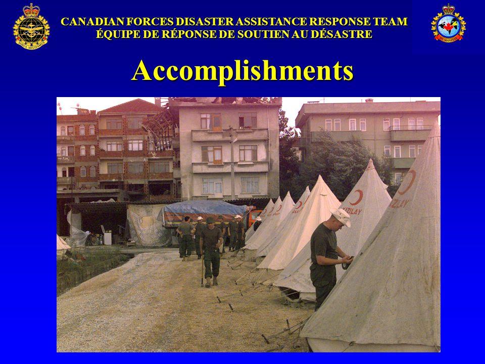CANADIAN FORCES DISASTER ASSISTANCE RESPONSE TEAM ÉQUIPE DE RÉPONSE DE SOUTIEN AU DÉSASTRE Accomplishments