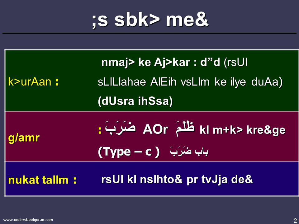 2 www.understandquran.com ;s sbk> me& k>urAan : nmaj> ke Aj>kar : d d (rsUl sLlLlahae AlEih vsLlm ke ilye duAa ) (dUsra ihSsa) nmaj> ke Aj>kar : d d (rsUl sLlLlahae AlEih vsLlm ke ilye duAa ) (dUsra ihSsa) g/amr : ضَرَبَ AOr ظَلَمَ kI m+k> kre&ge (Type – c ) باب ضَرَبَ nukat talIm : rsUl kI nsIhto& pr tvJja de& rsUl kI nsIhto& pr tvJja de&