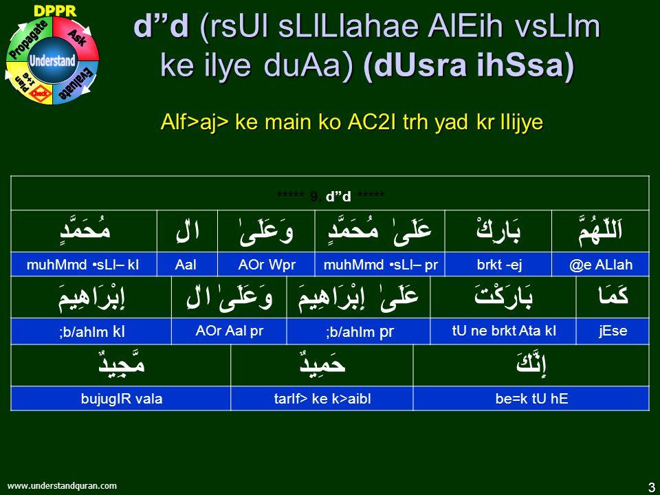 3 www.understandquran.com d d (rsUl sLlLlahae AlEih vsLlm ke ilye duAa ) (dUsra ihSsa) Alf>aj> ke main ko AC2I trh yad kr lIijye ***** 9.