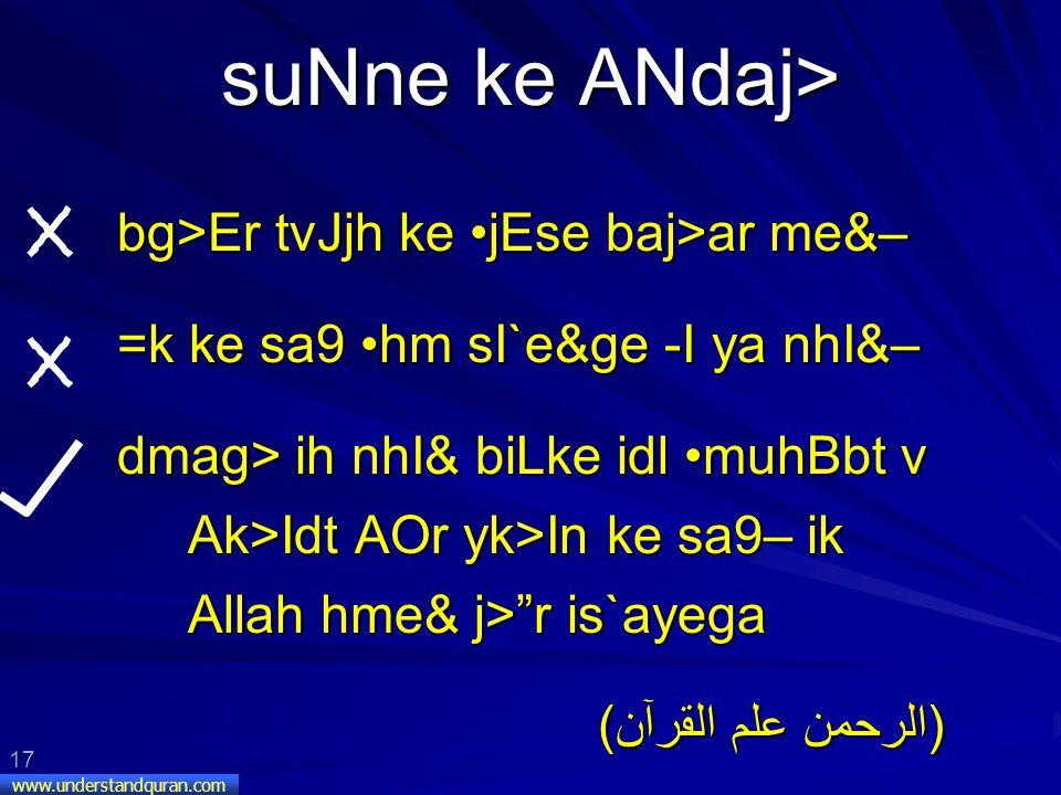 17 www.understandquran.com suNne ke ANdaj> bg>Er tvJjh ke jEse baj>ar me&– =k ke sa9 hm sI`e&ge -I ya nhI&– dmag> ih nhI& biLke idl muhBbt v Ak>Idt AOr yk>In ke sa9– ik Allah hme& j> r is`ayega (الرحمن علم القرآن)
