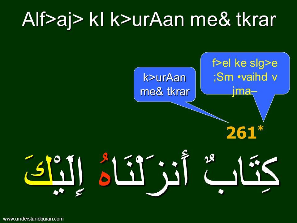 Alf>aj> kI k>urAan me& tkrar كِتَابٌ أَنزَلْنَاهُ إِلَيْكَ 261 * k>urAan me& tkrar f>el ke sIg>e ;Sm vaihd v jma– www.understandquran.com