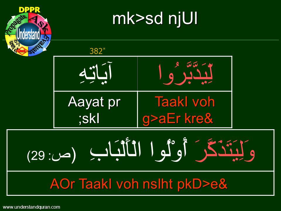 mk>sd njUl لِّيَدَّبَّرُواآيَاتِهِ TaakI voh g>aEr kre& Aayat pr ;skI وَلِيَتَذَكَّرَ أُوْلُوا الْأَلْبَابِ ( ص : 29) AOr TaakI voh nsIht pkD>e& 382 * www.understandquran.com