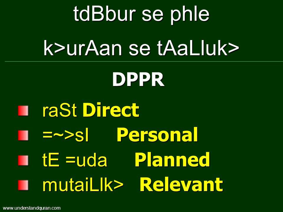 tdBbur se phle k>urAan se tAaLluk> raSt Direct =~>sI Personal tE =uda Planned mutaiLlk> Relevant DPPR www.understandquran.com
